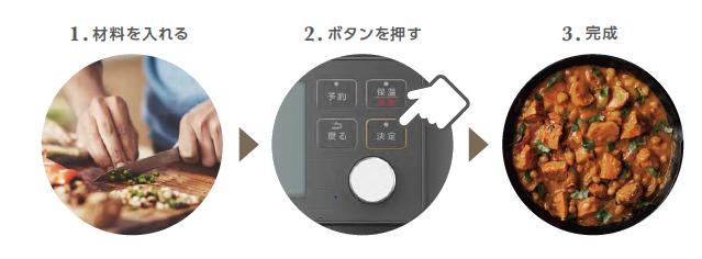 電気圧力鍋4.0Lの3ステップ手順画像