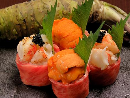 うにの肉巻き寿司、ボタン海老の肉巻き