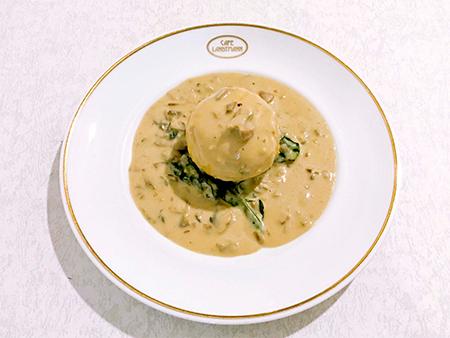 仔牛の挽き肉と野菜のフライシュクヌーデル ポルチーニのクリームソース