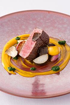 黒毛和牛フィレ肉のグリエ 南部一郎カボチャピューレ