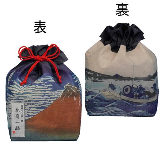 北斎一福巾着袋 赤富士