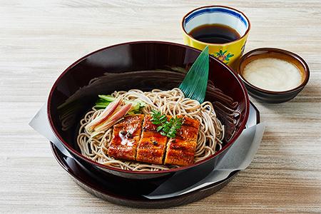 鹿児島県産鰻の蒲焼きと冷たいお蕎麦 とろろ添えの画像