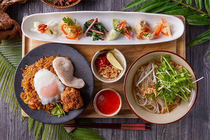 一汁六菜アジアンプレート ナシゴレンセット(鶏出汁フォー付)の画像
