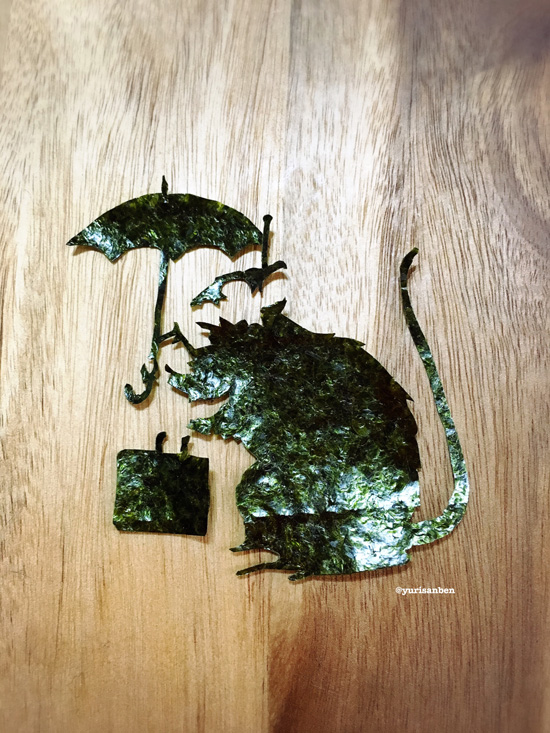 バンクシー ネズミの絵海苔アート弁当3