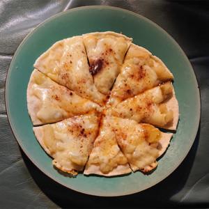 林檎のピザの画像