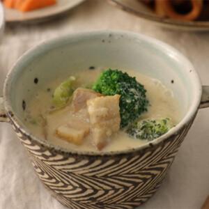 ブロッコリーと厚切りベーコンの豆乳スープ