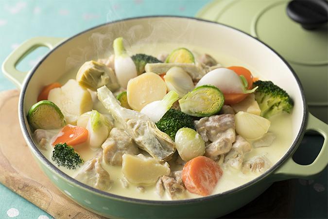チキンと春野菜のグリーンマスタードシチュー