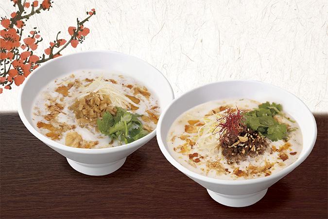 『豆漿搾菜湯麺』と『麻辣豆漿担々麺』