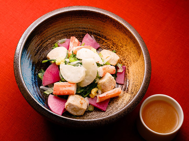 蟹と冬野菜のだし温サラダ