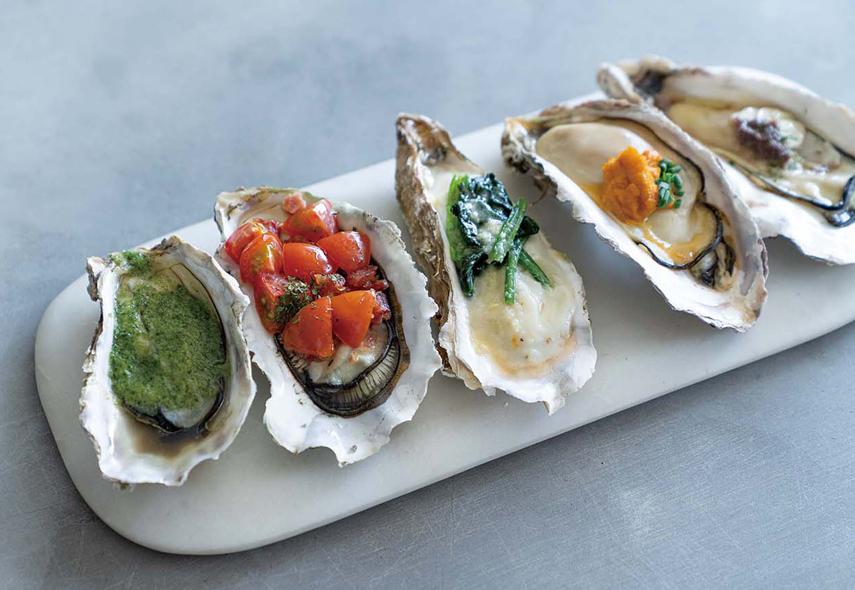 焼き牡蠣5種盛り合わせ(ランチオイスターバー)