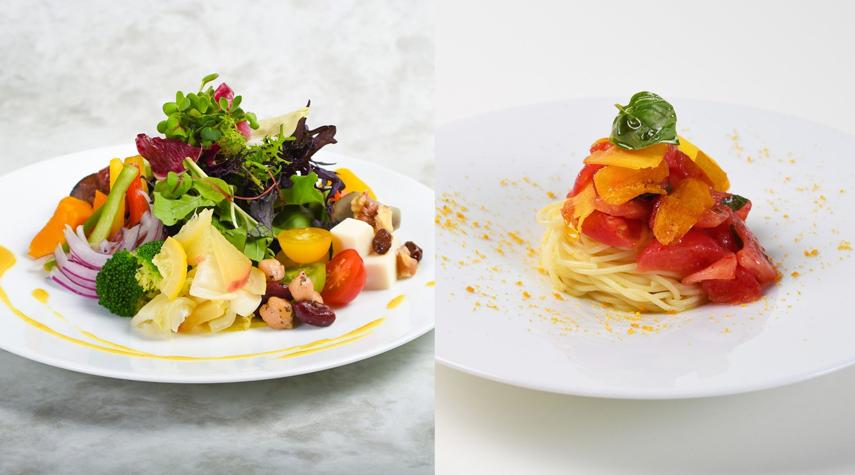 「東京野菜のサラダバー」と「冷製 完熟トマトとカラスミのフェデリーニ」