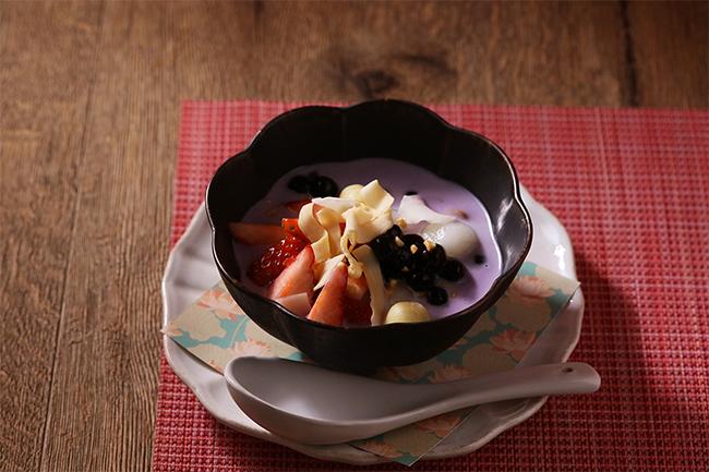 いちごと紫芋のタピオカ入りチェー