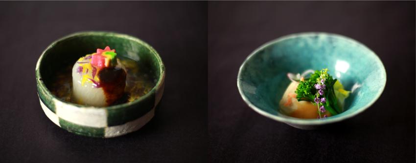 左:大根とお麩の風呂焚き(和食・前菜)/右:お刺身湯葉、からし酢味噌掛け、野菜色々、目物一式(和食・造里替り)