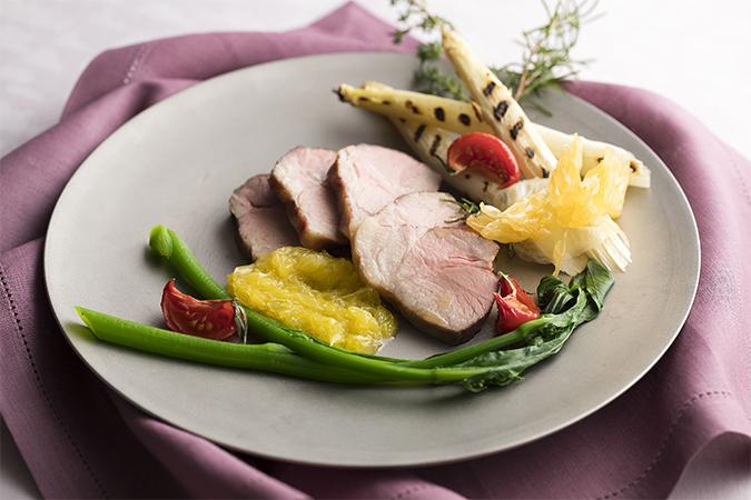 チキンのロースト 筍のタプナード グリーンビーンズサラダ