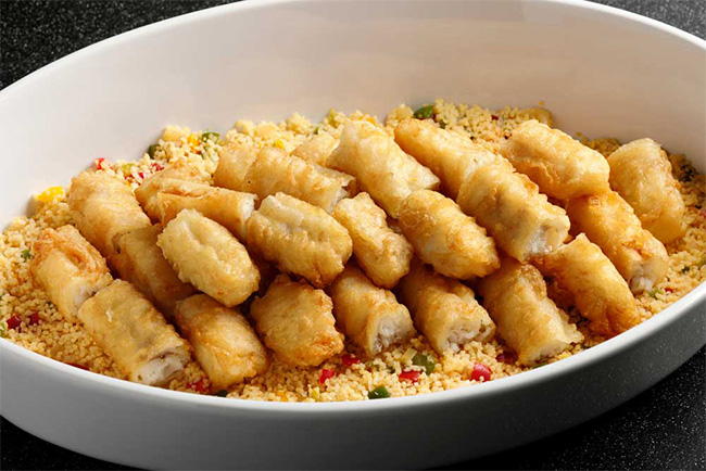 クリスピーフィッシュフライとクスクス Crispy fry fish and couscous