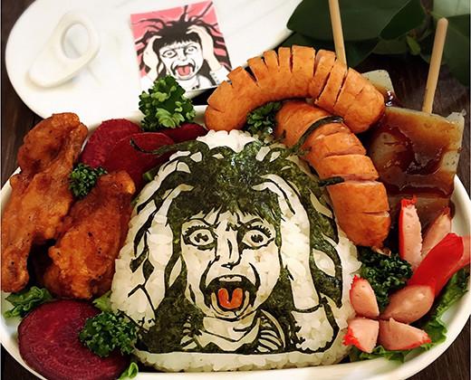 楳図かずおの恐怖の絶叫美少女の海苔アート弁当