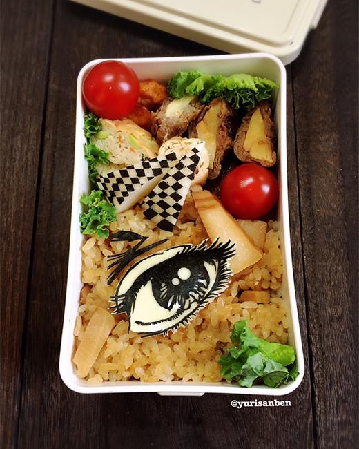 楳図かずおの美少女の「目」海苔アート弁当