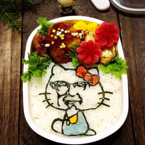カーネルサンダースおじさんキティ海苔アート弁当の画像