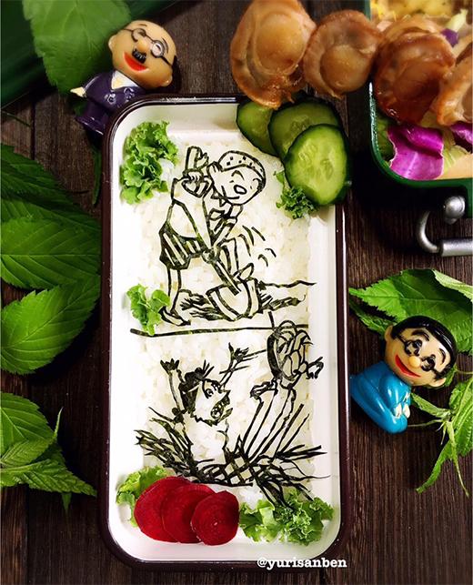 カツオの落とし穴に落ちるサザエさん海苔アート弁当の画像